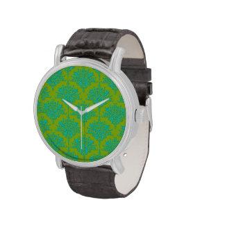 Damasco floral verde claro y de la turquesa relojes de mano