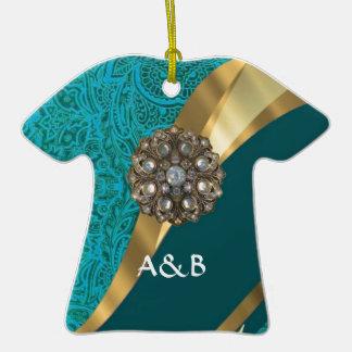 Damasco floral verde del trullo adorno de cerámica en forma de camiseta