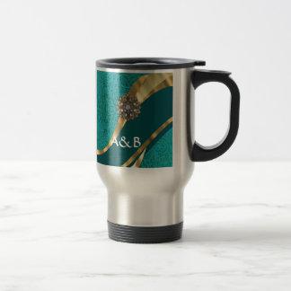Damasco floral verde del trullo taza