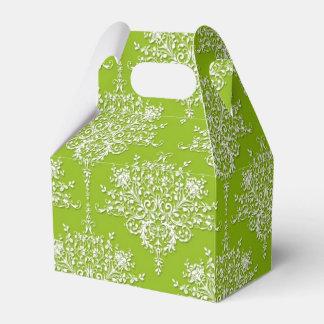 Damasco floral verde oliva del verde y blanco caja para regalos