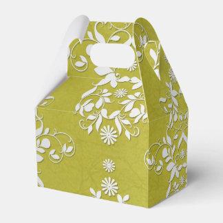 Damasco floral verde oliva del verde y blanco cajas para detalles de boda