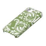 Damasco floral verde oliva oscuro del verde y blan iPhone 5 Case-Mate carcasa