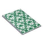 Damasco floral verde y blanco cuadernos
