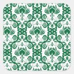 Damasco floral verde y blanco pegatina cuadrada