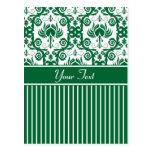 Damasco floral verde y blanco postal