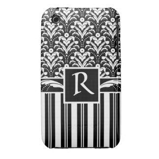 Damasco floral y rayas del vintage elegante del iPhone 3 Case-Mate cárcasas
