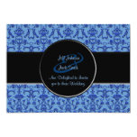 Damasco florentino del vintage (azul) (boda) invitación 12,7 x 17,8 cm