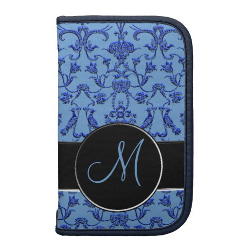 Damasco florentino del vintage (monograma) (azul) organizador