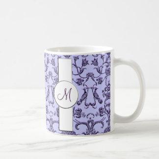Damasco florentino del vintage (monograma) (lila) taza básica blanca