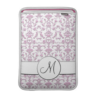 Damasco florentino del vintage (monograma) (rosa) fundas macbook air