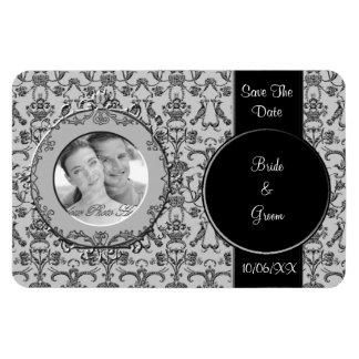Damasco florentino del vintage (negro) (ahorre la  imán foto rectangular