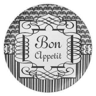 Damasco francés blanco y negro de Appetit del Bon Platos Para Fiestas