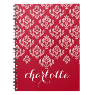 Damasco francés rojo y blanco elegante libros de apuntes