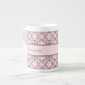 Damasco geométrico gris y rosado personalizado tazas de china