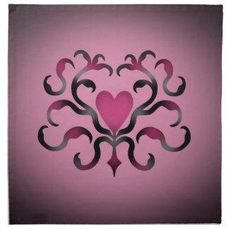 Damasco gótico del corazón en rosa servilletas imprimidas
