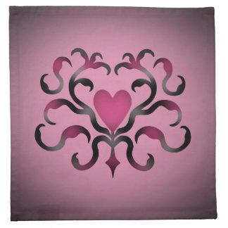 Damasco gótico del corazón en rosa servilletas