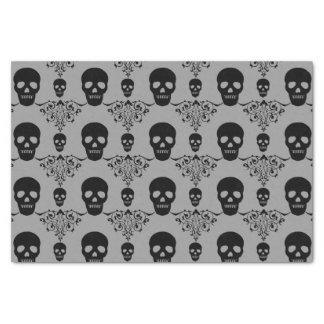 Damasco gótico del cráneo papel de seda pequeño