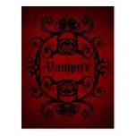 Damasco gótico elegante del vampiro rojo y negro tarjetas postales