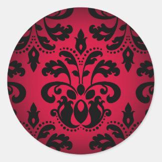Damasco gótico negro y rojo del vintage del victor pegatina redonda