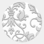 Damasco grabado en relieve de la mirada, gris etiquetas redondas