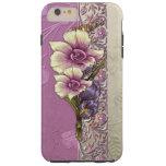 Damasco grabado en relieve elegante de la lila y funda de iPhone 6 plus tough