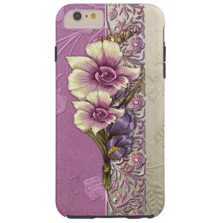 Damasco grabado en relieve elegante de la lila y funda para iPhone 6 plus tough