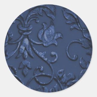 Damasco grabado en relieve metálico de la mirada etiquetas redondas