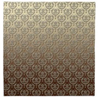 Damasco grabado en relieve oro adornado elegante servilletas de papel