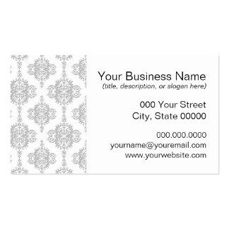 Damasco gris claro y blanco del vintage tarjetas de visita