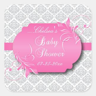 Damasco gris de moda y rosa para una fiesta de pegatina cuadrada