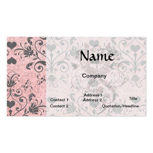 damasco gris elegante lamentable del remolino del tarjetas de visita