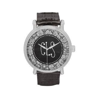 Damasco gris oscuro; Pizarra retra Relojes De Pulsera