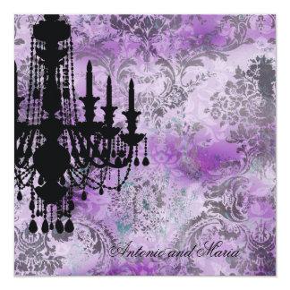 """Damasco gris púrpura de la lámpara de la invitación 5.25"""" x 5.25"""""""