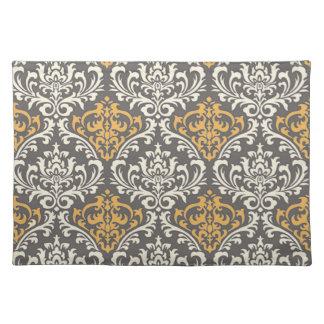 damasco gris y amarillo del vintage moderno mantel individual