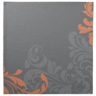 Damasco gris y anaranjado servilleta de papel