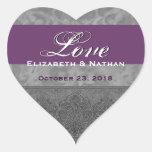 Damasco gris y púrpura del boda calcomanías de corazones