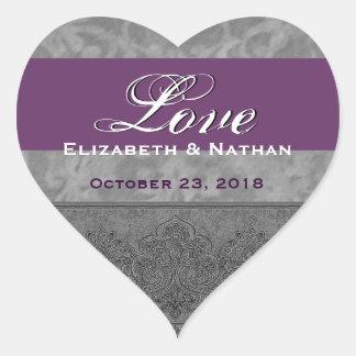 Damasco gris y púrpura del boda calcomanías de corazones personalizadas