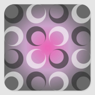 Damasco gris y rosado pegatina cuadrada