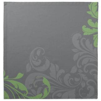 Damasco gris y verde servilleta de papel