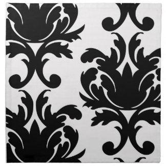 damasco intrépido blanco y negro grande servilleta