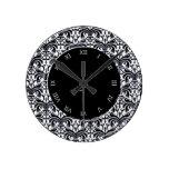 Damasco intrépido grande (negro) relojes de pared