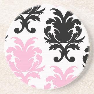 damasco intrépido precioso rosado negro blanco posavasos de arenisca