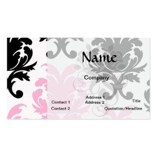 damasco intrépido precioso rosado negro blanco tarjetas de visita