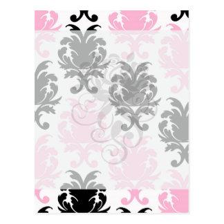 damasco intrépido precioso rosado negro blanco