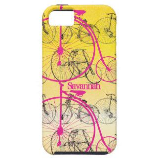 Damasco Iphone 5 de la bici del rosa del amarillo iPhone 5 Case-Mate Funda