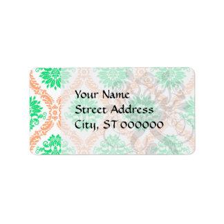 damasco irlandés etiqueta de dirección