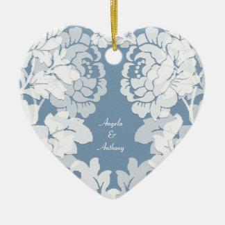 damasco - jardín secreto - ornamento del boda adorno de cerámica en forma de corazón