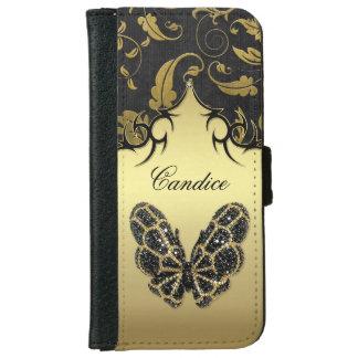 Damasco Jeweled de la mariposa - iPhone 6 Funda Cartera Para iPhone 6