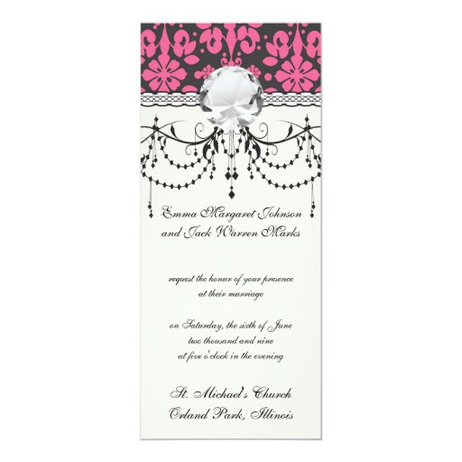 """damasco lamentable gris y rosado enrrollado invitación 4"""" x 9.25"""""""