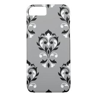 Damasco LG Ptn del corazón negro y blanco en gris Funda iPhone 7